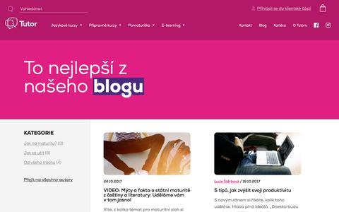 Screenshot of Blog tutor.cz - Blog – tipy a novinky ke kurzům a přijímacím zkouškám - captured Oct. 25, 2017