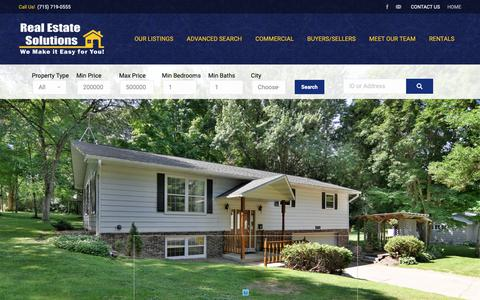 Screenshot of Home Page soldbyres.com - Rice Lake Wisconsin Real Estate | Rice Lake Homes for Sale | Real Estate Solutions - captured Oct. 18, 2018