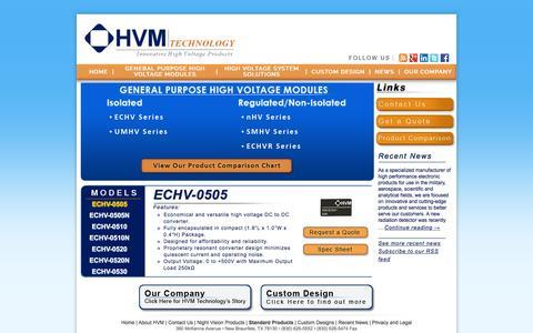 Screenshot of Products Page hvmtech.com - High Voltage Custom Power Supplies - HVM Technology Inc. - captured Jan. 24, 2016