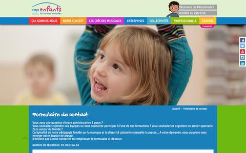 Screenshot of Contact Page capenfants.com - Formulaire de contact | Cap Enfants - captured Sept. 29, 2014