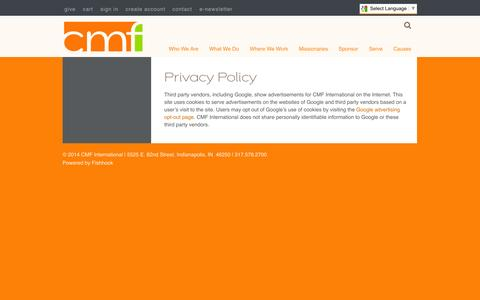 Screenshot of Privacy Page cmfi.org - CMF International  » Privacy Policy - captured Oct. 1, 2014
