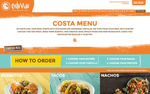 Screenshot of costavida.net - COSTA MENU | Costa Vida - Fresh Mexican Grill - captured Sept. 23, 2015