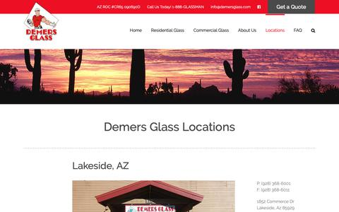 Screenshot of Locations Page demersglass.com - Locations - Demers Glass - captured Oct. 8, 2018