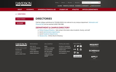 Screenshot of Contact Page davidson.edu - Directories - Davidson College - captured Sept. 25, 2014