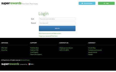 Screenshot of Login Page superrewards.com - SuperRewards | Login - captured March 16, 2017
