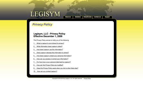 Screenshot of Privacy Page legisym.com - Legisym Privacy Policy - captured Nov. 6, 2016