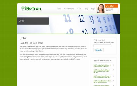 Screenshot of Jobs Page iretron.com - Jobs - iReTron.com - captured Sept. 12, 2014