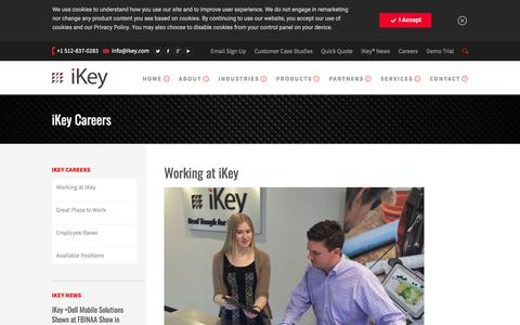 Screenshot of Jobs Page ikey.com - Working at iKey Rugged Computer Peripheral Manufacturer iKey - captured July 27, 2019