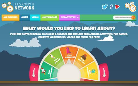 Screenshot of Home Page kidsknowit.com - Kids Know It - Most Popular Educational Website For Kids - captured Sept. 22, 2018