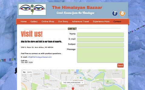 Screenshot of Contact Page thehimalayanbazaar.com - The Himalayan Bazaar, Fair Trade gift shop downtown Ann Arbor, Mi   Contact - captured Dec. 16, 2016