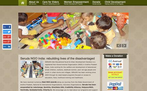 Screenshot of Home Page serudsindia.org - NGO in India  for Poor Old Age People, Orphans, Women  SERUDS - captured Oct. 3, 2014