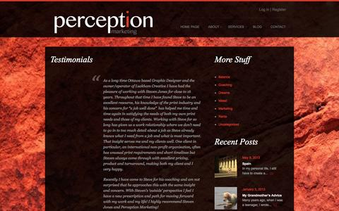 Screenshot of Testimonials Page perceptionmarketing.ca - Testimonials  |  perception marketing | passion not monotony - captured Sept. 29, 2014