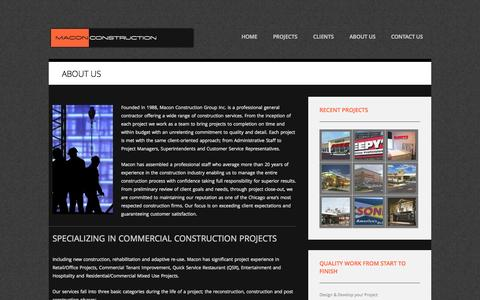 Screenshot of About Page macongroup.com - Licensed General Contractor - Chicago | Macon Construction Group - Macon Construction Group - captured Oct. 7, 2014