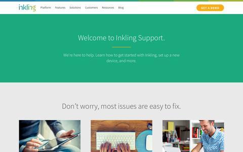 Screenshot of Support Page inkling.com - Get support for the Inkling platform   Inkling - captured July 3, 2015