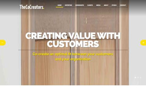 Screenshot of Home Page About Page Contact Page Press Page thecocreators.com - TheCoCreators - Creating value with customersTheCoCreators   Creating Value with Customers - captured Oct. 9, 2014