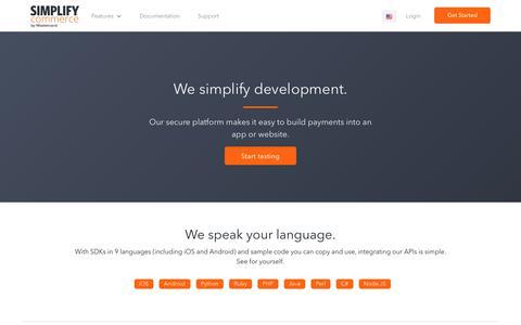 Screenshot of Developers Page simplify.com - Simplify Payments for Developers | Payment Developer Resources, API, Docs - captured Oct. 5, 2017