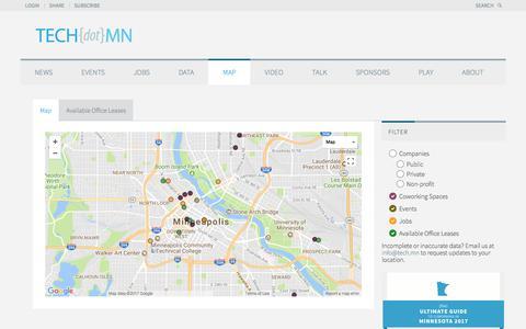 Screenshot of Maps & Directions Page tech.mn - TECHdotMN Map - TECHdotMN - captured Oct. 26, 2017