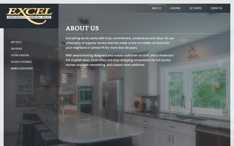 Screenshot of About Page excelremodeling.com - About Us • Excel Interior Concepts & Construction - captured Sept. 4, 2017