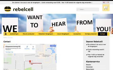 Screenshot of Contact Page rebel-cell.com - Rebelcell | Contact - captured Aug. 15, 2016