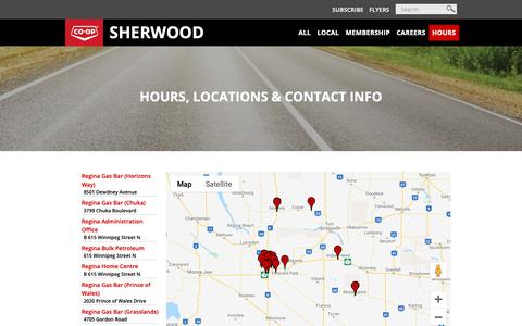 Screenshot of Contact Page Hours Page sherwoodco-op.crs - Hours - captured Oct. 25, 2018