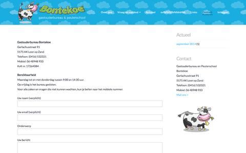 Screenshot of Contact Page kinderopvangbrabant.nl - Contact - Welkom bij Kinderopvang Brabant - captured Nov. 1, 2014