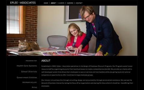Screenshot of About Page eplee.com - EPLEE + ASSOCIATES - captured Oct. 2, 2014