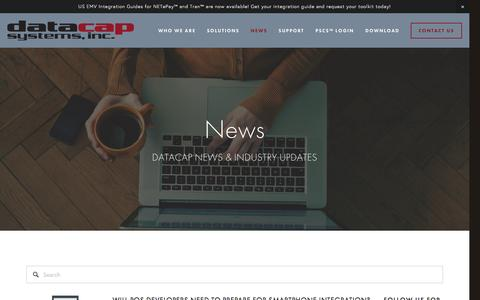 Screenshot of Press Page datacapsystems.com - News — Integrated Payments  - Datacap Systems, Inc. - captured March 14, 2017