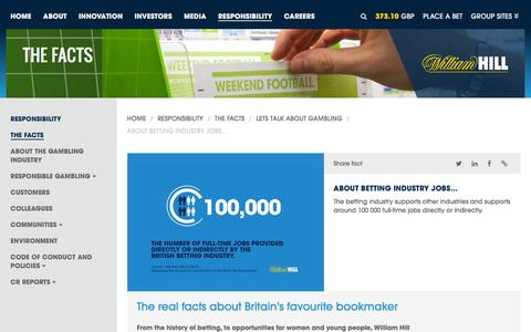 Screenshot of williamhillplc.com - William Hill PLC: About betting industry jobs...                 - Lets talk about gambling                 - The Facts                 - Responsibility - captured March 19, 2016