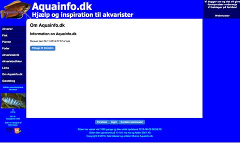 Screenshot of About Page aquainfo.dk - Om Aquainfo.dk::Aquainfo.dk - captured June 11, 2016