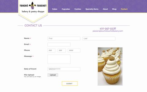 Screenshot of Contact Page touchetouchetbakery.com - Touche Touchet Bakery Contact Informaton - captured Dec. 14, 2016