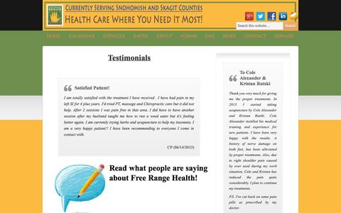 Screenshot of Testimonials Page freerangehealth.org - Testimonials | Free Range Health - captured Sept. 30, 2014