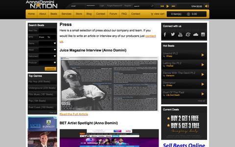 Screenshot of Press Page annodominination.com - Press | Anno Domini Nation - captured Oct. 29, 2014