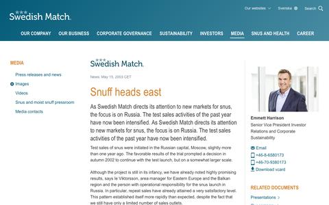 Screenshot of Press Page swedishmatch.com - Swedish Match - Snuff heads east - captured Nov. 1, 2018