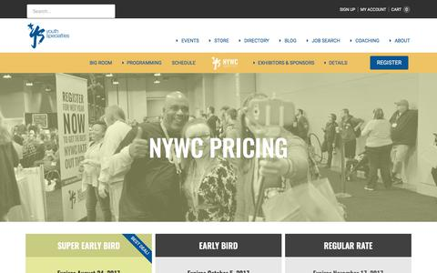 Screenshot of Pricing Page youthspecialties.com - Pricing - NYWC 2017 - captured June 19, 2017