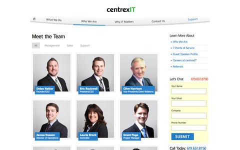 Screenshot of Team Page centrexit.com - Meet The Team | San Diego's Leader in IT Consulting | centrexIT.com - captured Nov. 5, 2015