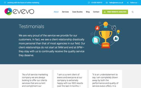 Screenshot of Terms Page Testimonials Page evevo.uk - Section: Testimonials - evevo.uk - captured July 19, 2016