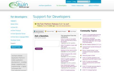 Screenshot of Support Page motwin.com - moTwin - enterprise platform for real-time apps - captured July 19, 2014