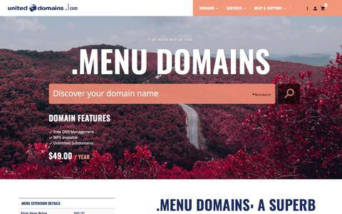 Screenshot of Menu Page uniteddomains.com - Buy .MENU Domain Names - captured June 20, 2017