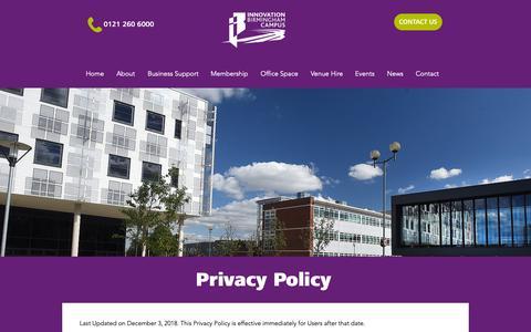 Screenshot of Privacy Page innovationbham.com - mysite   Privacy Policy - captured Dec. 15, 2018