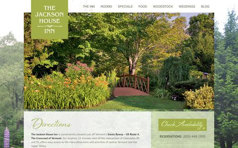 Screenshot of Maps & Directions Page jacksonhouse.com - Directions to the Bed & Breakfast   Jackson House InnJackson House Inn - captured Oct. 16, 2017