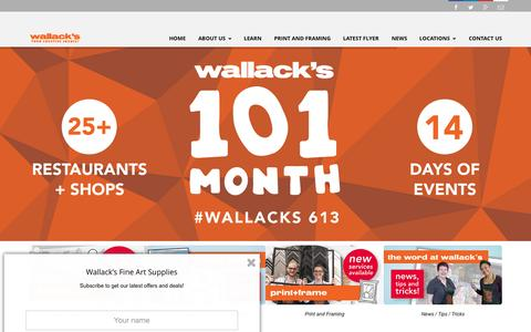 Screenshot of Home Page wallacks.com - Wallacks Art Supplies | Your Creative Source for all of your art supply needs - captured Sept. 5, 2015