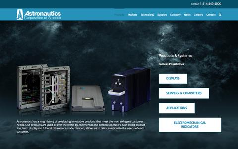 Screenshot of Products Page astronautics.com - Products | Astronautics - captured Feb. 6, 2016
