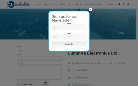 Screenshot of Contact Page luminite.co.uk - Luminite - Contact - captured Nov. 11, 2018