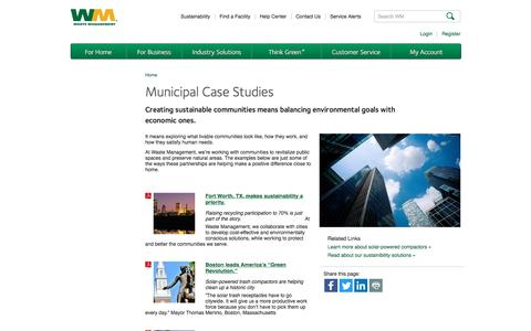 Screenshot of Case Studies Page wm.com - Community Case Studies | Waste Management - captured Jan. 26, 2017