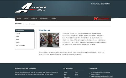 Screenshot of Products Page aerotechalloys.com - Aluminum & Stainless Steel Aerospace Products | Aluminum Rod, Plate & Sheet - captured July 29, 2018