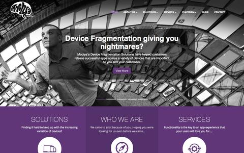 Screenshot of Home Page moolya.com - Moolya Software Testing, a mobility test solutions company addressing Device Fragmentation, App quality and Test Automation - captured Jan. 22, 2015
