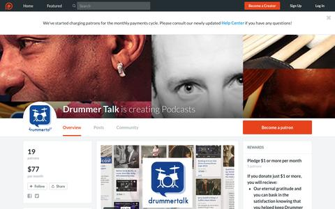 Screenshot of Support Page patreon.com - Drummer Talk is creating Podcasts | Patreon - captured Sept. 1, 2016