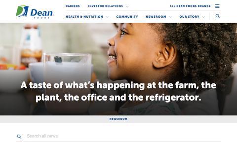 Screenshot of Press Page deanfoods.com - Dean Foods - Newsroom - captured March 8, 2018