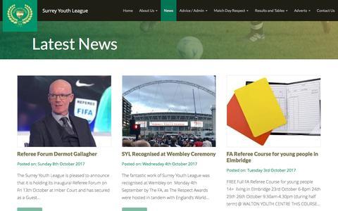 Screenshot of Press Page wsyl.org.uk - News | Surrey Youth League - captured Oct. 27, 2017