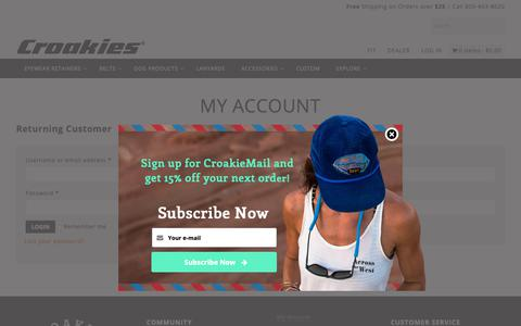 Screenshot of Login Page croakies.com - My Account | CROAKIES® - captured Nov. 5, 2018